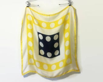 1960s Echo Polka Dot Navy + Yellow Silk Square Scarf