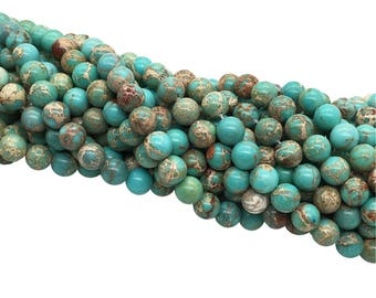 1Full Strand Blue Impression Jasper Beads ,8mm 10mm Wholesale Gemstone For Jewelry Making