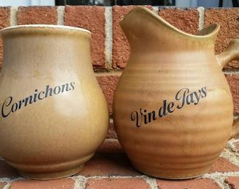 French Pottery - Vin de Pays Pitcher and Cornichons Jar - Rhodaceram
