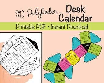 2017 Polyheder 3D Desk Calendar Printable for Kids and Adults