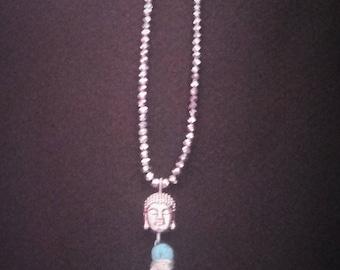 Necklace Buddha bead semi precious silver color