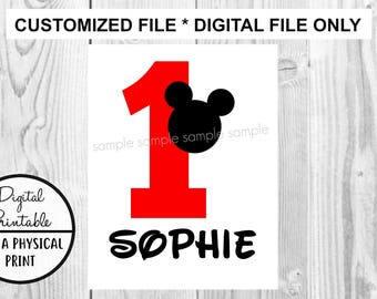 Mickey Mouse Iron On Transfer - DIY Birthday Disney Disneyland Disney World - Birthday Boy Girl Personalized Customized