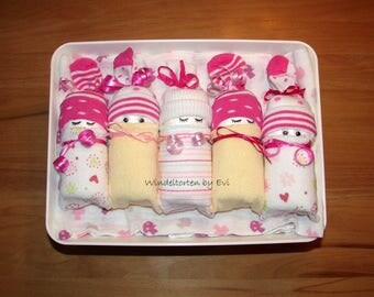 Diaper babies in the box, girl, baby gift birth baptism, Windelbabies pink pink, diaper cake