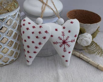Two hearts in white fabric embroidered red stars style Scandinavian - decorative hearts - hearts mountain - fabric heart.