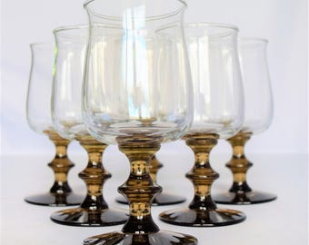 Set of 6 Libbey Rock Sharp Wine Goblets With Smoke Tinted Stems/Faux Bamboo stemmed Wine Glasses/Vintage Glassware