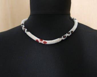 Glass beaded choker crochet necklace