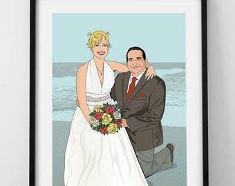 Custom couple portrait, comic portrait, pop art couple portrait, Digital Illustration, personalized gift