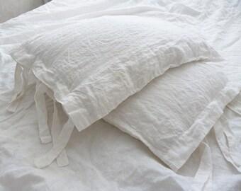 Linen Pillow Sham with ties white sham linen bedding gray sham natural linen pillow case Gift Euro Sham Covers Queen size