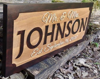 Last name wall sign Mr and Mrs sign Last name wall decor Wood wedding name date sign Established sign Wedding date sign Last name sign