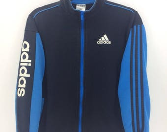 Vintage 90's Adidas Dark Blue 3 Stripes Sport Classic Design Skate Sweat Shirt Sweater Varsity Jacket Size M #A834