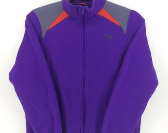 Vintage 90's Puma Purple Sport Classic Design Skate Sweat Shirt Sweater Varsity Jacket Size M #A880