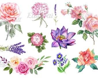 Beautiful Temporary Tattoos - Floral Temporary Tattoos - Watercolour Temporary Tattoos - Fake Tattoos - Rose Tattoos - Flower Tattoos