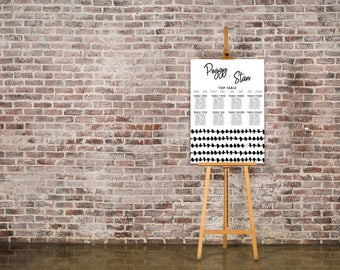 Bold Strokes Black and Blush Wedding Seating Chart Table Plan - Poster Print - Digital Download - Wedding Printable - Table Plan