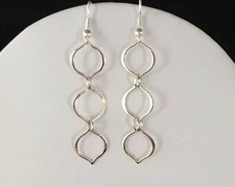 Silver triple link dangle earrings
