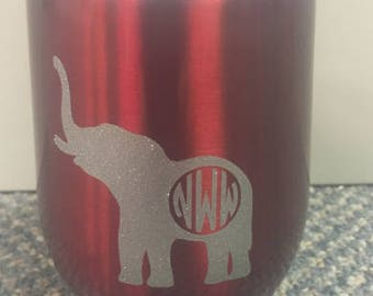 Monogrammed elephant stainless steel glass with lid