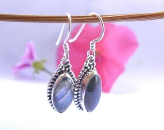 Earrings 925 Silver and filled with labradorite stone