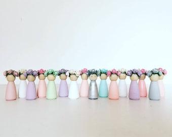 Mini wooden flower dolls set of 3 any colour