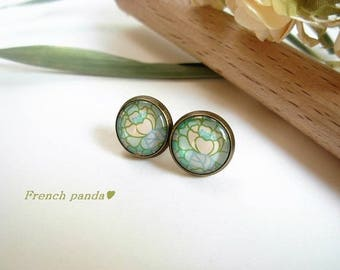 Pair of glass cabochon earrings