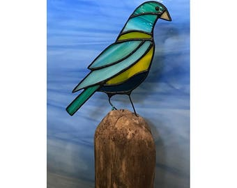 Stained Glass Grosbeak on Driftwood