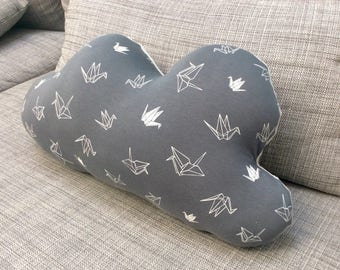Medium cloud pattern origami birds pillow size M