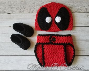 Crochet Deadpool Baby Set, Deadpool Baby Set, Deadpool Hat, Deadpool Photo Prop Set, Baby Photo Prop Set, Deadpool Costume