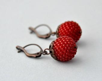 Red Beaded Earrings, Copper Earrings, Dangle Earrings, Drop Earrings, Seed Bead Earrings, Ball Earrings, Glass Earrings, Bead Earrings, Red