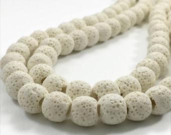 8mm Natural Lava Beads,White Lava Rock Beads,Lava Beads,Jewelry Making