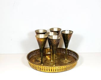 BOHO BRASS GLASSES and Tray Vintage Set of Tray with Stemware Cordial Set Hammered Brass Mid Century Bohemian Prop Decorative Brass
