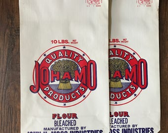 Vintage Flour Bags 10lb - John H Moss Industries - Set of 2