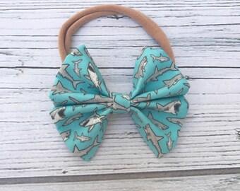 Shark bow // shark week // headband // bowtie