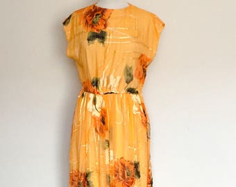 1980s Orange Floral Chiffon Dress Vintge