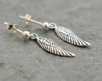 Angel Wing Earrings, Guardian Angel Earrings, Sterling Silver Wing Earrings, Christmas Gift For Sister, Angel Wing Jewelry, Gift For Her