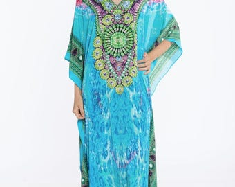 kaftan, digital print kaftan, caftan dress, plus size dress, beach kaftan dress free size dress in BLUE maxi caftans