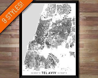 Buildings of Tel Aviv map art | Printable Tel Aviv map print, Tel Aviv print, Tel Aviv poster, Tel Aviv art, Tel Aviv wall art, Israel map