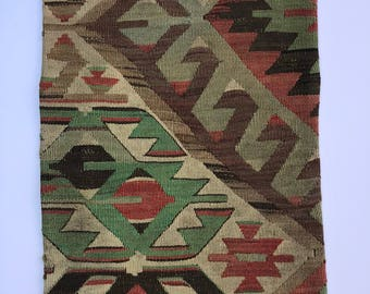 Vintage Handmade Pillowcase made of handmade vintage Turkish Kilim - 16 ij by 24 in
