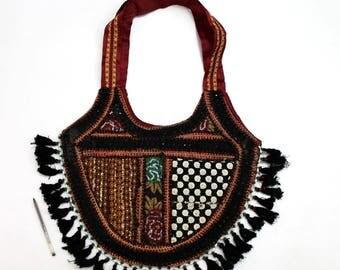 Handmade Ethnic Designer Tribal Banjara Patchwork Embroidered Hippy Fashionable Stylish Trendy Hippie Gypsy Boho Bohemian Shopper Bag F178