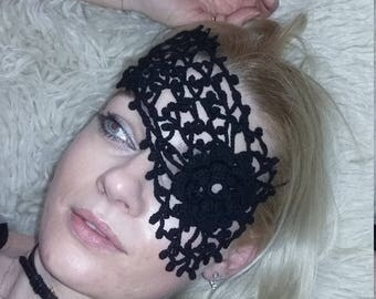 crochet black mask lace masquerade mask lace mask masquerade mask charm mask - Black Eye Mask Halloween