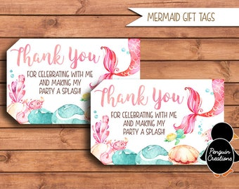 Mermaid Gift Tags. Mermaid Thank You Tags. Mermaid Birthday Party. Baby Shower