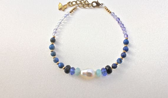 wedding bracelet semi-precious stones lapis lazuli, blue quartz, amazonite and blue stone, solid brass