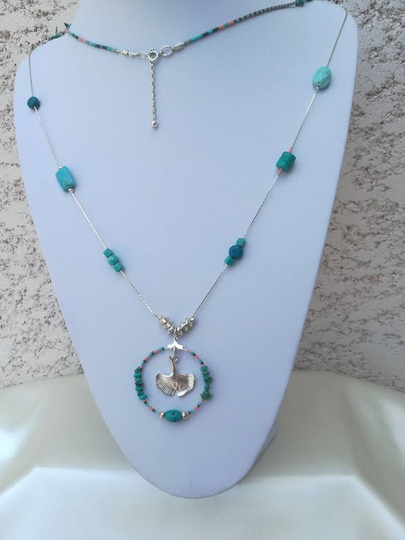 tropical style necklace seed beads, turquoise, reality and gingko pendant