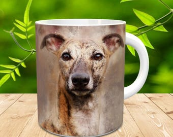 Whippet Gift Mug, Whippet  Painted in watercolour grunge and splatter effect, Brindle Brown Whippet