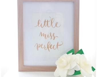 Little Miss Perfect - handmade wall print