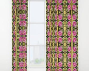 Pink roses with golden stripes Windows Curtains, Modern Home decor, Elegant, Decorate your windows, Beautiful windows decor