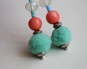 Opalite Moonstone, Natural Coral and Green Pompom drop Earrings