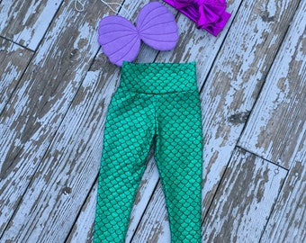 Mermaid outfit, mermaid leggings, shell top, mermaid birthday, birthday outfit, toddler mermaid birthday,mermaid scales, seashell top