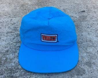 Vintage 80s 90s Yellow Freight Trucking Stylemaster Blue Embroidered Nylon Retro Snapback Hat