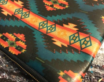 CHIEF leather aztec clutch Teal