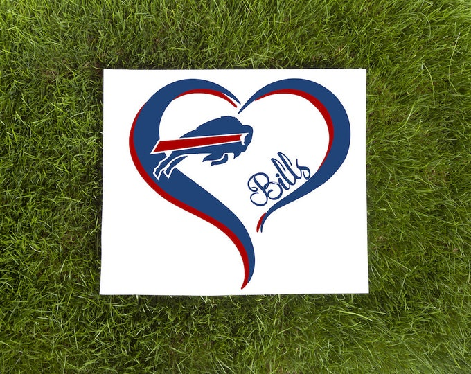 Buffalo Bills Double Heart Vinyl Decal-Love Vinyl Decal-Car Decal-Tumbler Vinyl Decal