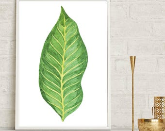 Botanical Leaf Wall Print, Tropical Print, Home Decor, Botanical Wall Print, Plant Leaf Print, Botanical Leaves, Prints, Home Green Room