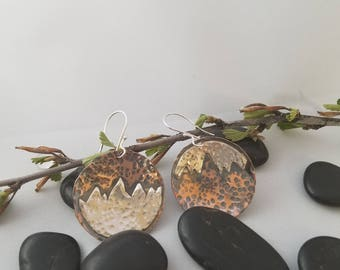 Mountain scape copper and sterling silver earrings